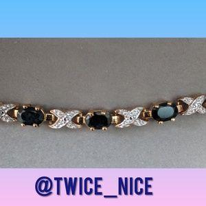 Jewelry - .925 Sterling Silver Sapphire and Diamond Bracelet
